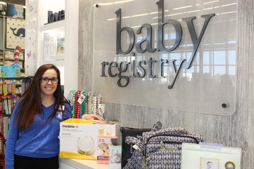 Baby Registry staff member Melissa at buybuy BABY Halifax with some of her top product picks
