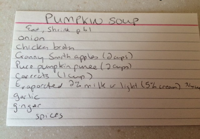 My pumpkin soup card from one of the lovely Podleski ladies' cookbook