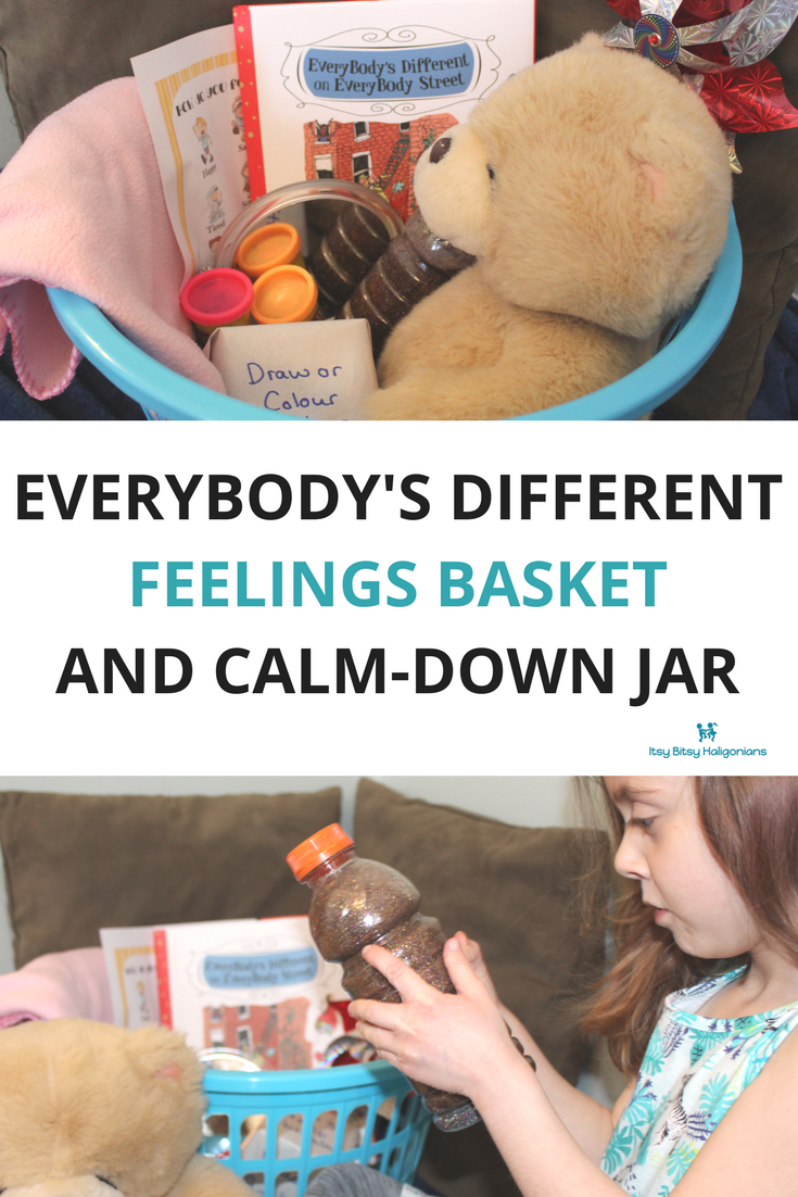How to Create a Feelings Basket for Kids, inspired by the book EveryBody's Different on EveryBody Street