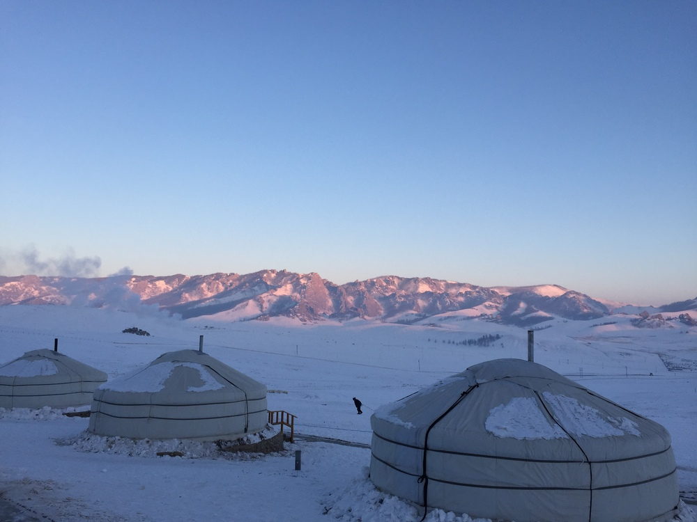 The first ger camp at sunrise