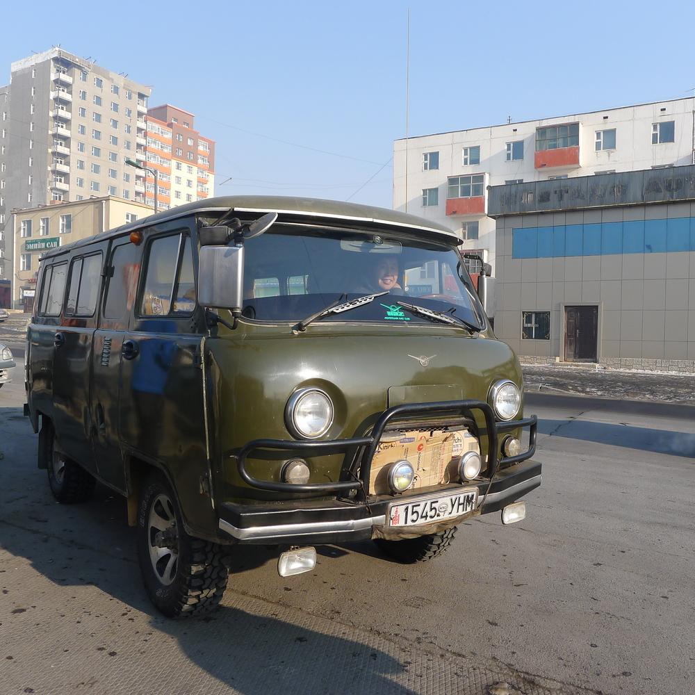 One of our vans for the week in Ulaan Bataar - An old soviet one