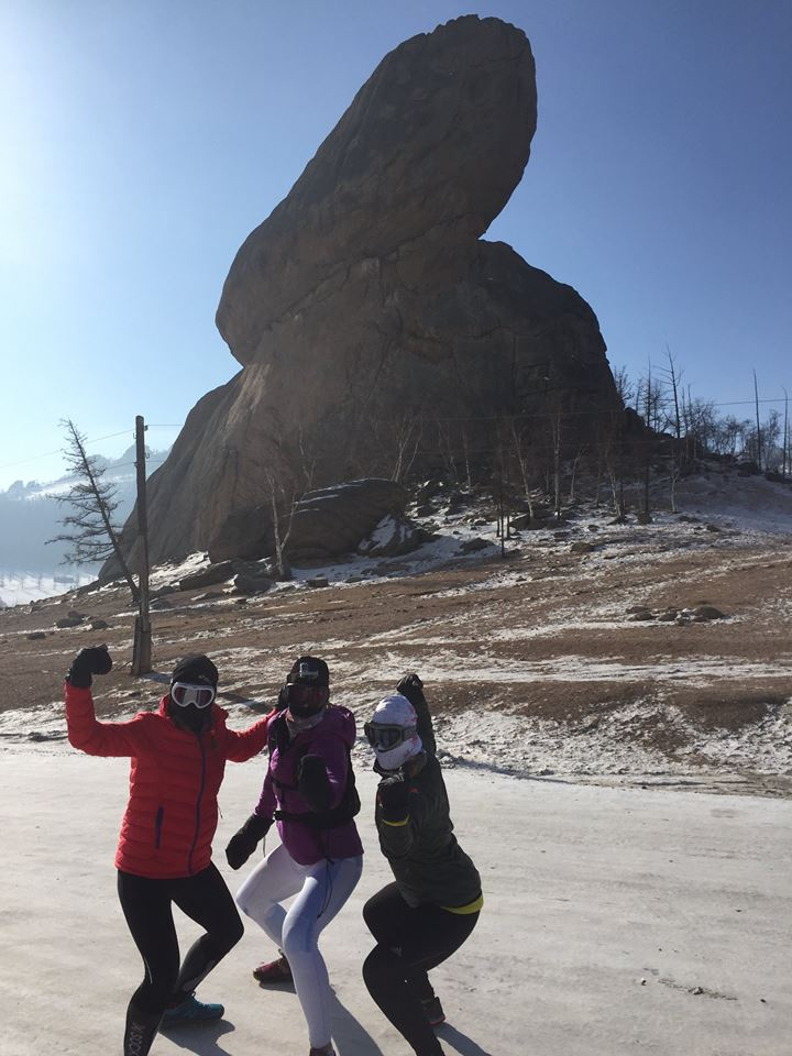 Me, Lucja and  Lenka at Turtle Rock before the test run. Photo: Lucja