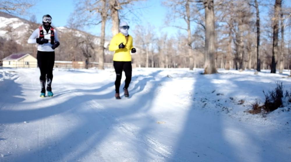 Me and  Lenka running. Screenshot from HUTCH/Rich Alexander footage
