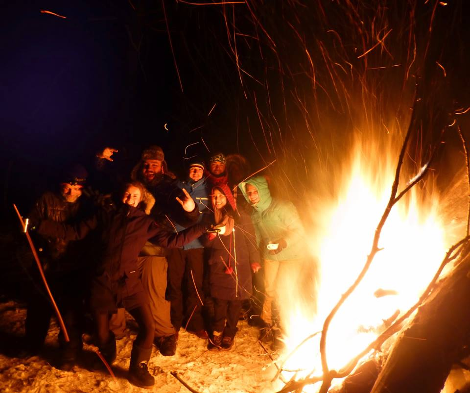 Group shot by the burning tree after a few vodkas. Photo: Lucja