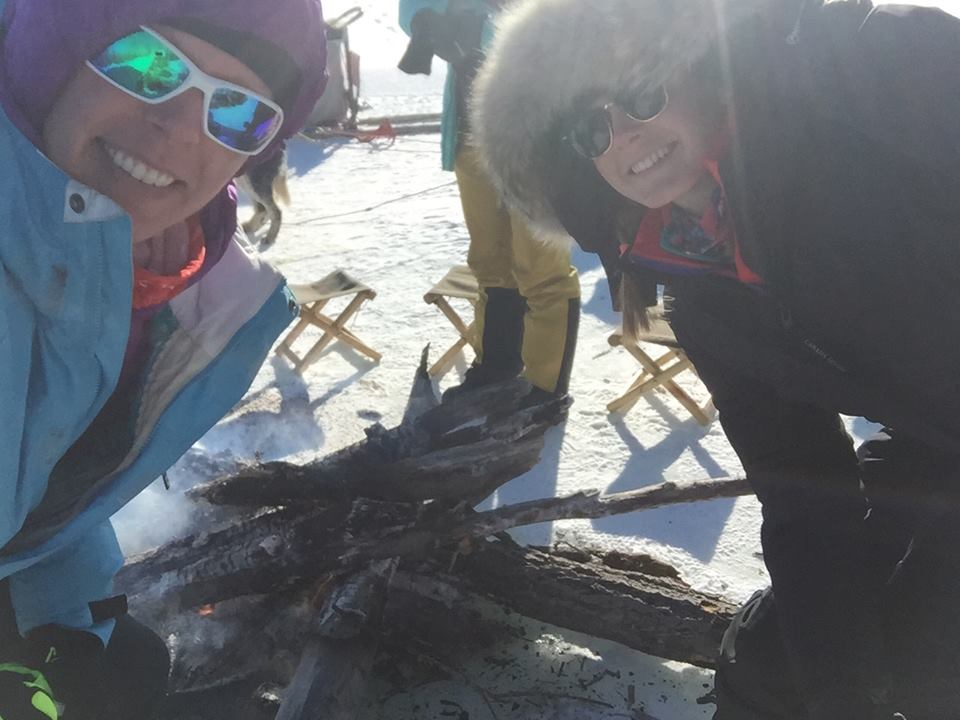 Me and Lucja warming up by the fire over a frozen river! Photo: Lucja