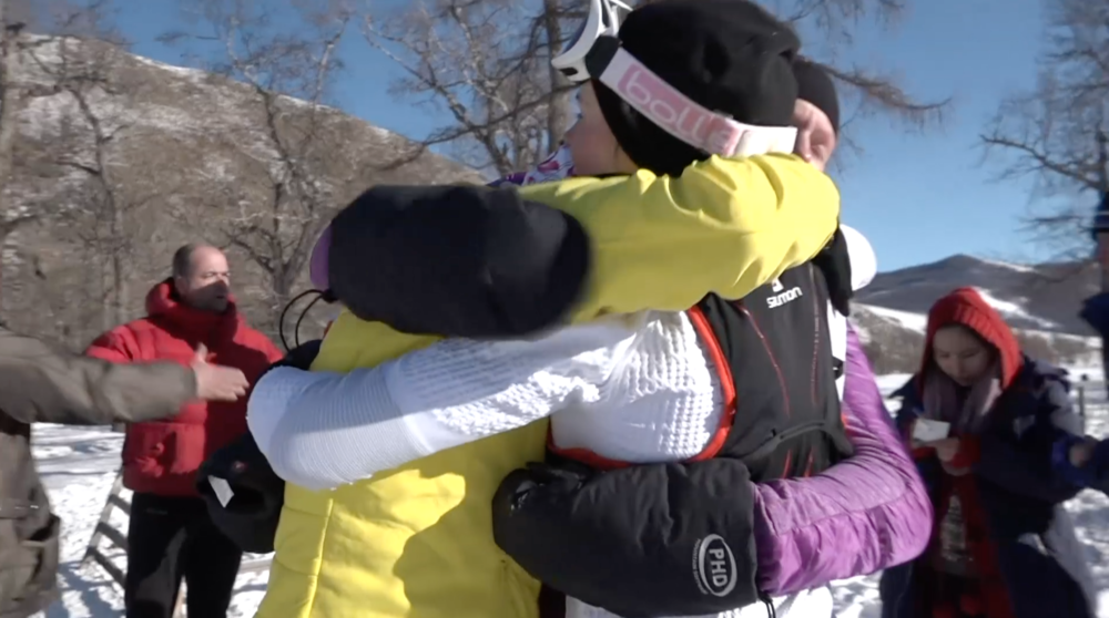 Hugs at the finish line - Me, Lucja and Lenka