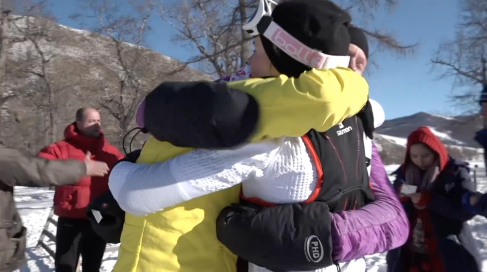 Hugs at the finish line - Me, Lucja and Lenka