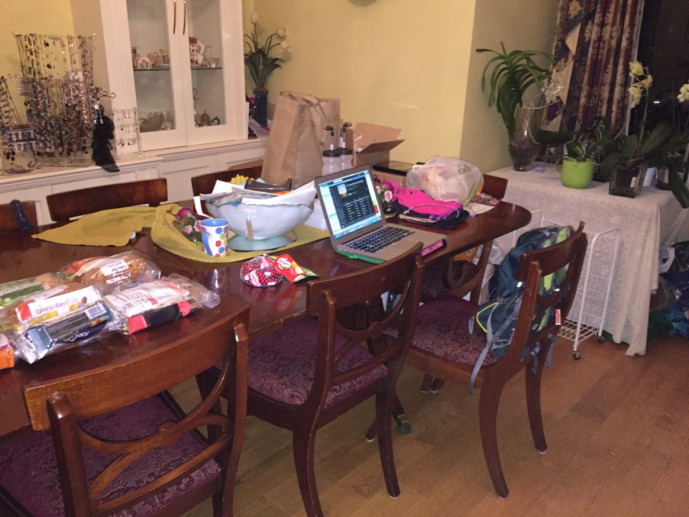 Packing food and kit with my spreadsheet - organised mess!