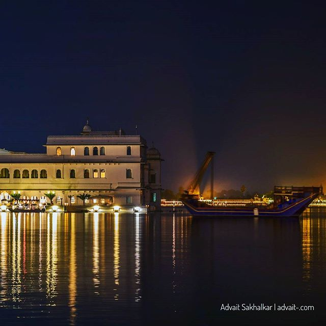 There cannot be a more peaceful place for dinner... . . .  #udaipur #nightphotography #lake #travel #travelphotography #travelblogger #rajasthan