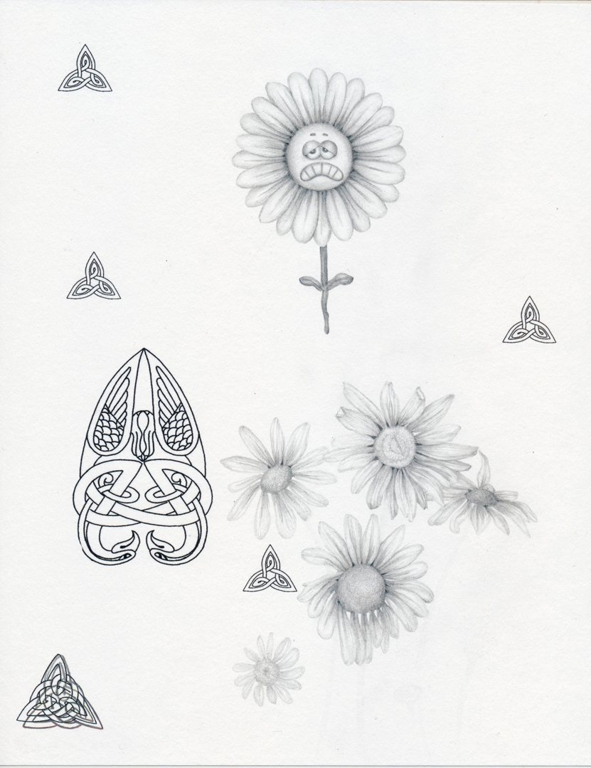 """Anxiety Flower"", pencil and inkjet print on paper, 8.5 x 11"", 2014"