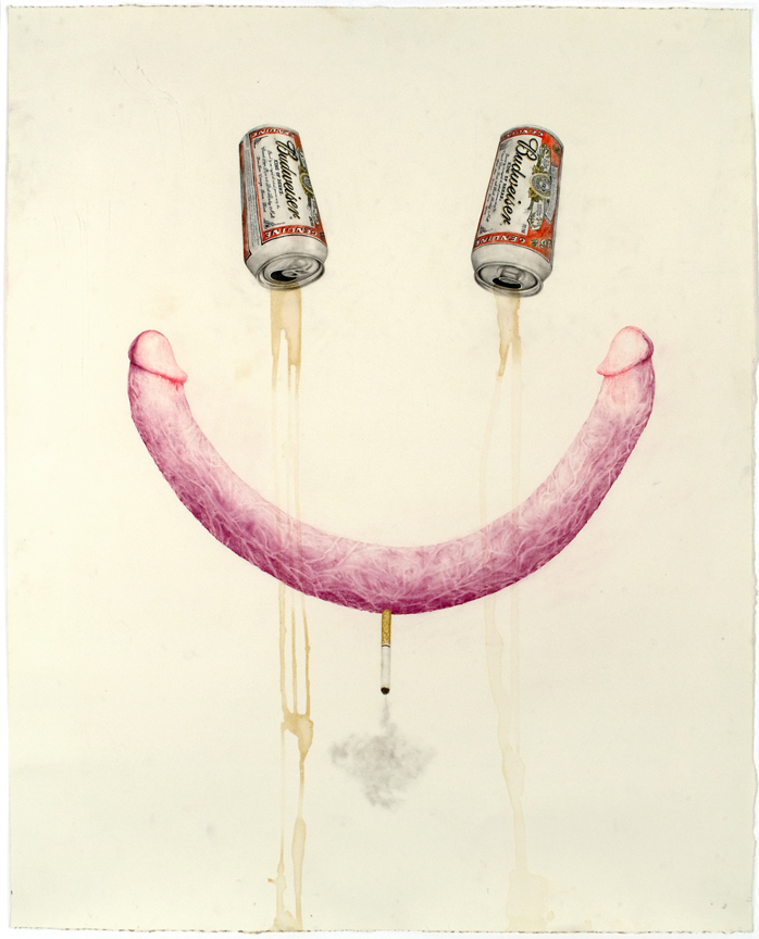"""Don't Wanna be Alone Tonight"" pencil, colored pencil, acrylic, beer on paper, 31"" x 25"", 2008"