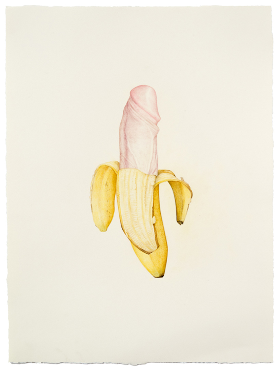 """Untitled (Dick Banana)"" colored pencil on paper, 17.5"" x 13"", 2013"