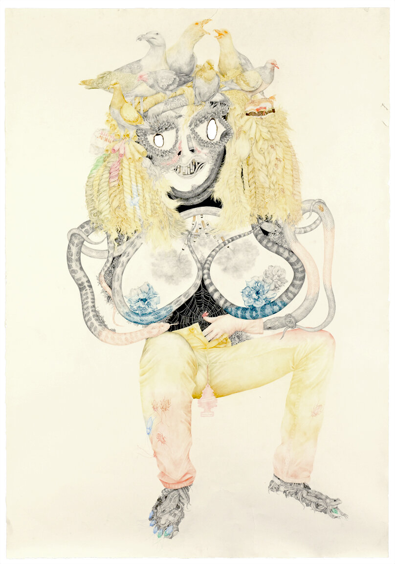 """a Bitch is a Bitch"" pencil, colored pencil, acrylic, on paper, 76"" x 53"", 2008"