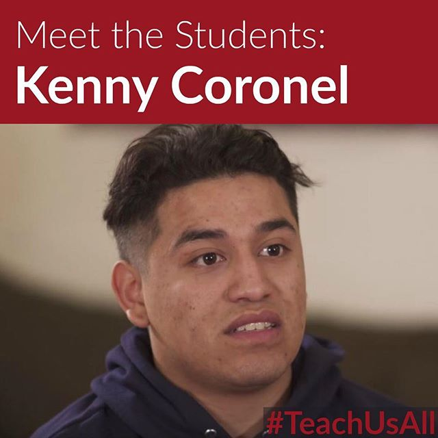 Meet Kenny Coronel. . Kenny is a high school student in Los Angeles. Kenny knows how powerful student voice is and he knows that it is up to students to take a stand for their education. . Schedule a screening of #TeachUsAll in your community to join the fight for #EdEquity.