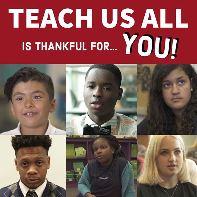 This #Thanksgiving we're thankful for... YOU! Thank you for your support in the fight for #EdEquity! From watching #TeachUsAll on Netflix to starting equity groups in your own communities, you are taking action and making a difference for students everywhere.