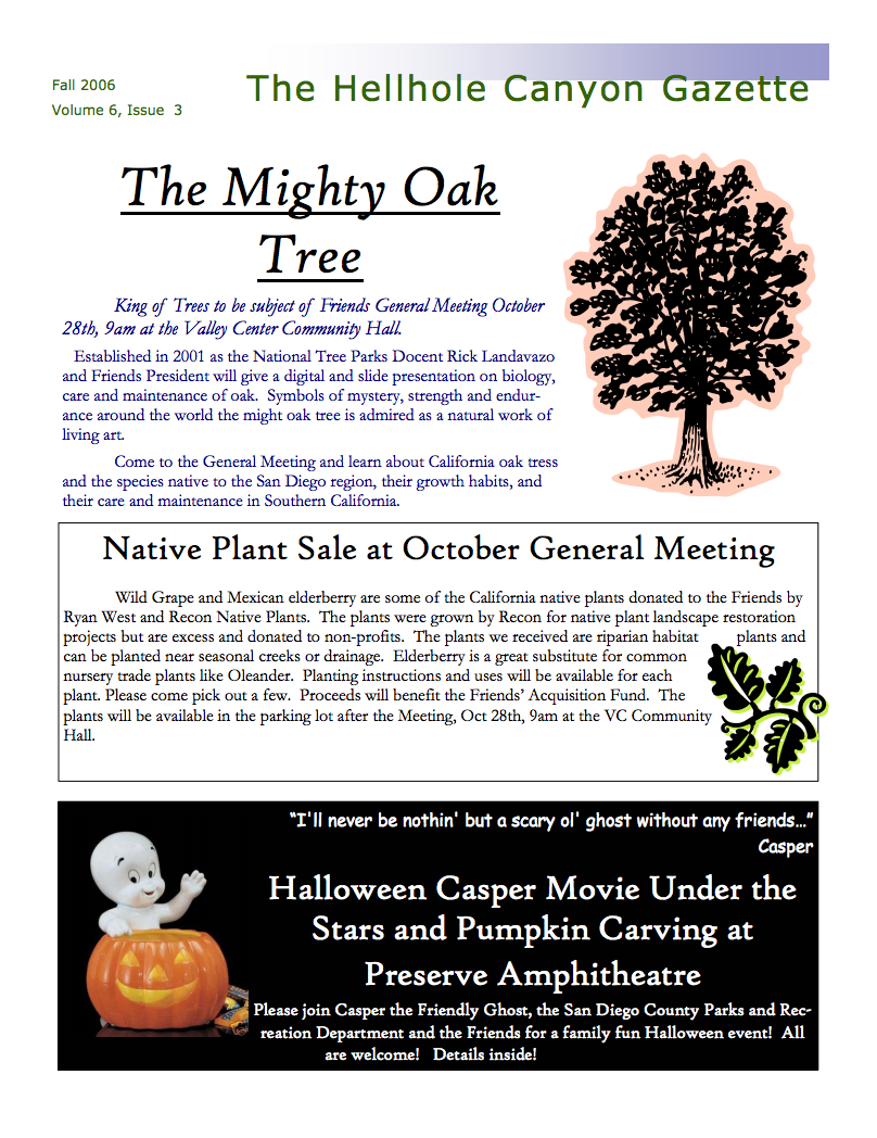 October 2006 Newsletter: The Mighty Oak Tree