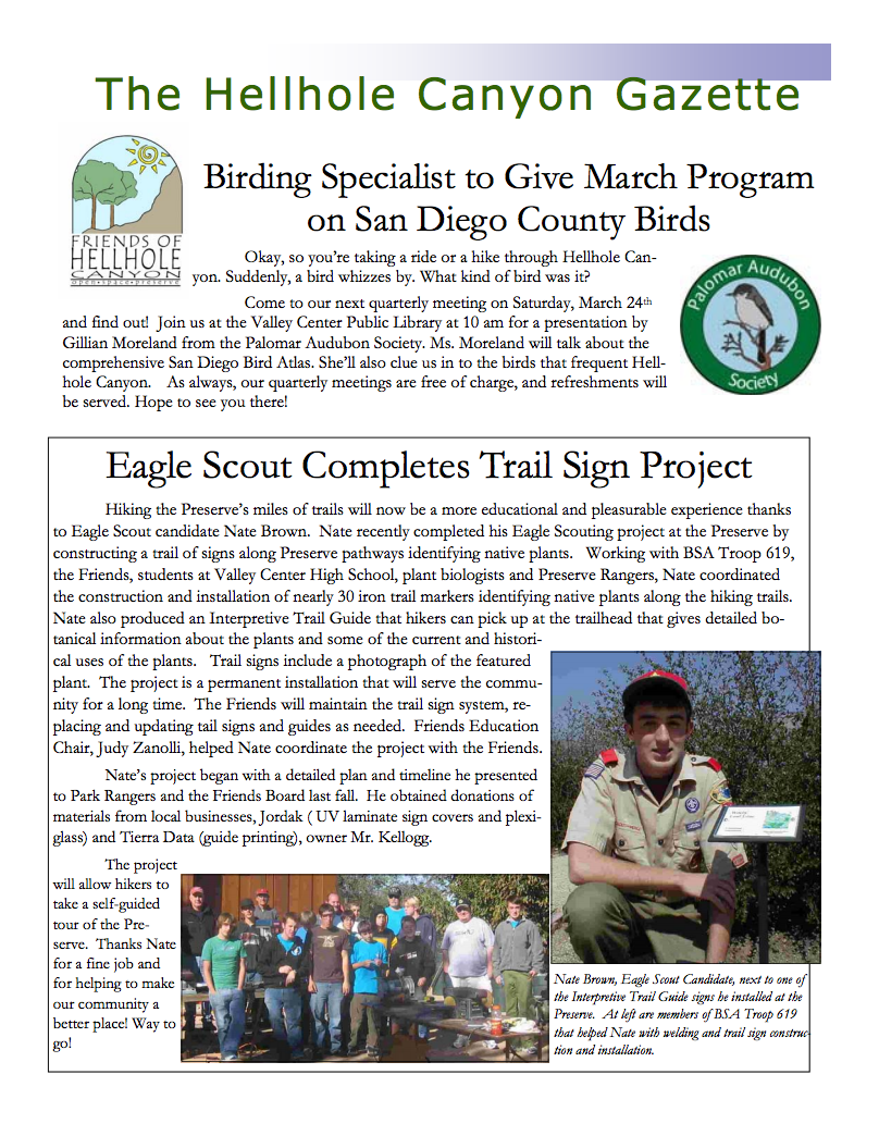 March 2007 Newsletter: Birding Talk, Scout Project