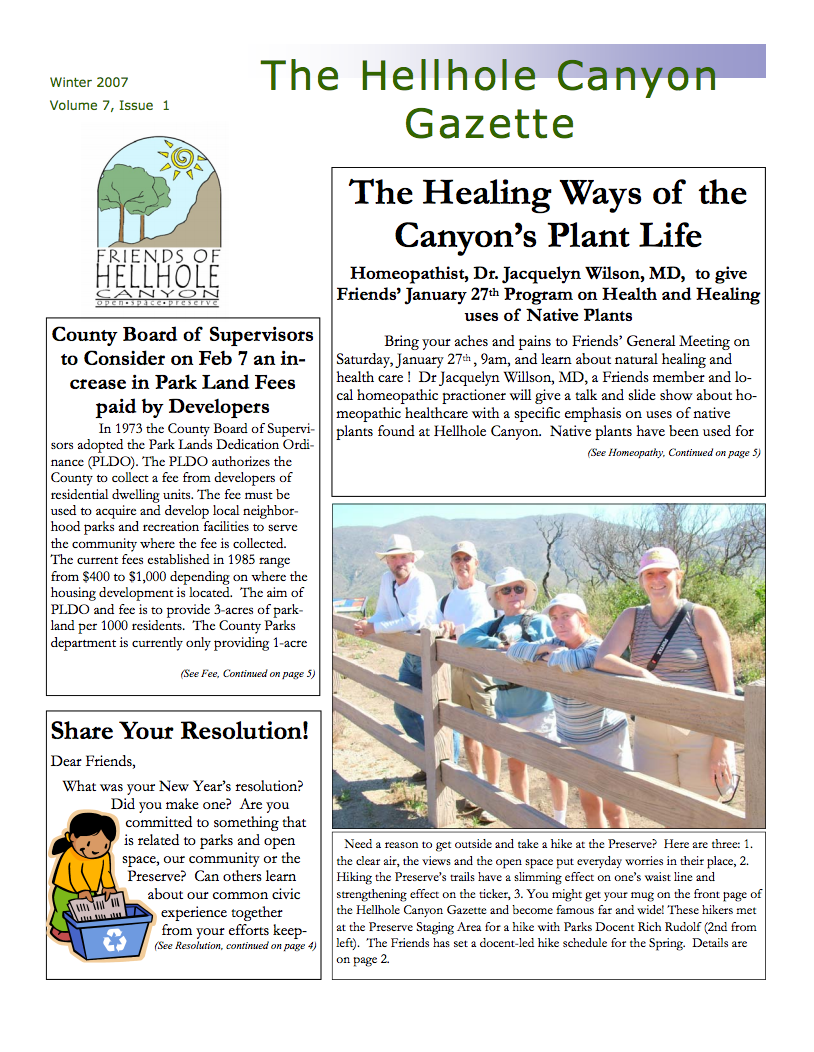 January 2007 Newsletter: Native Plant Homeopathy\Recycling Tips