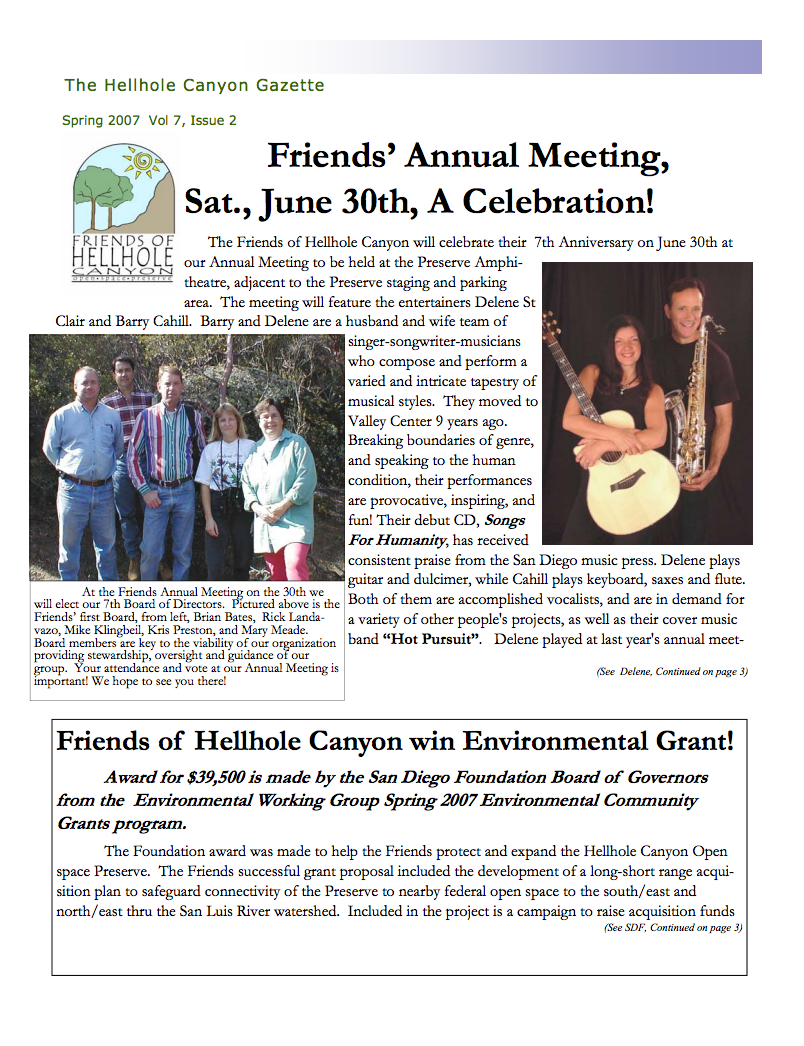 June 2007 Newsletter: Annual Meeting, Delene & Cahill