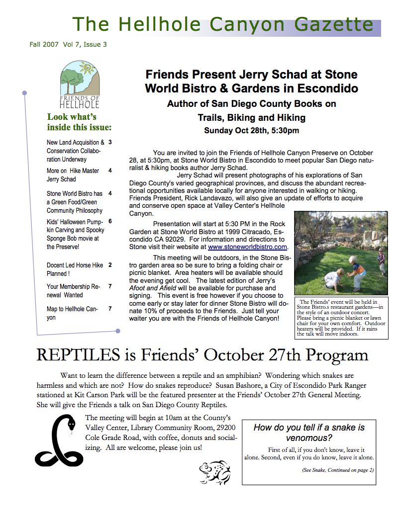 October 2007 Newsletter: Schad Event, Program on Hawks