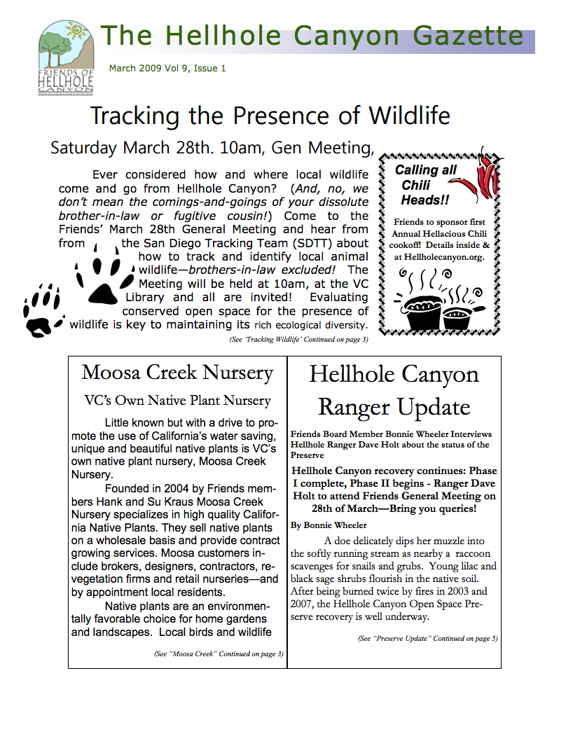 March 2009 Newsletter: Tracking the Presence of Wildlife