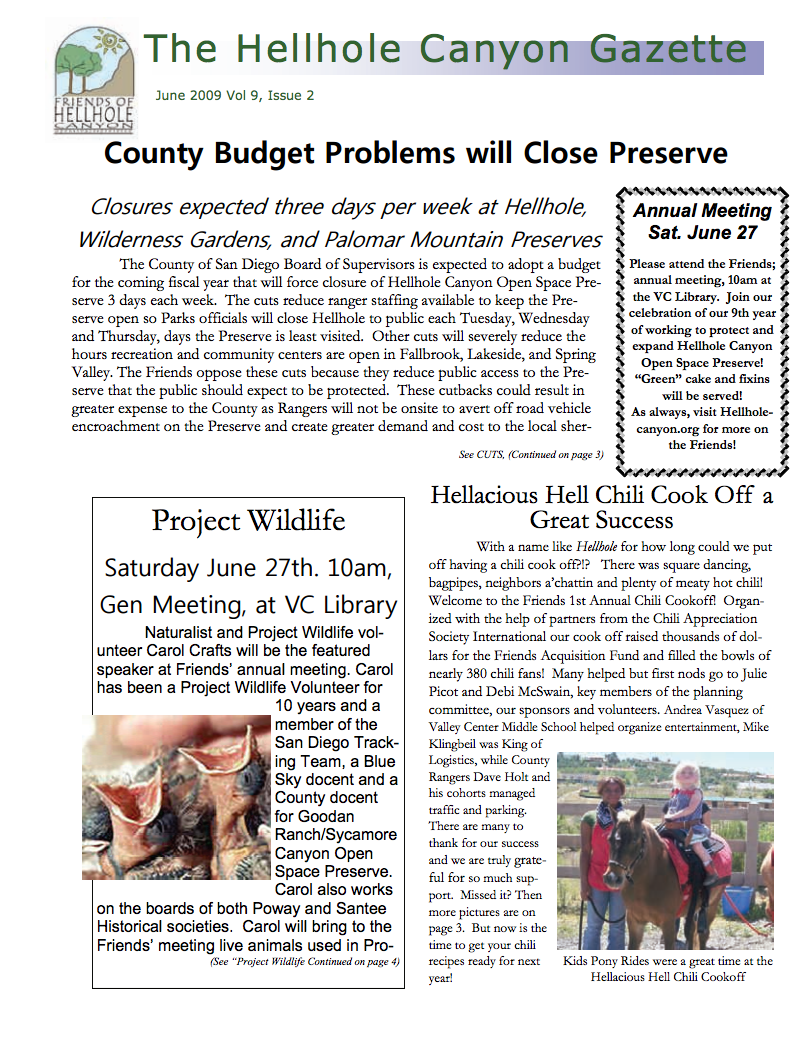 June 2009 Newsletter: County Budget Problems