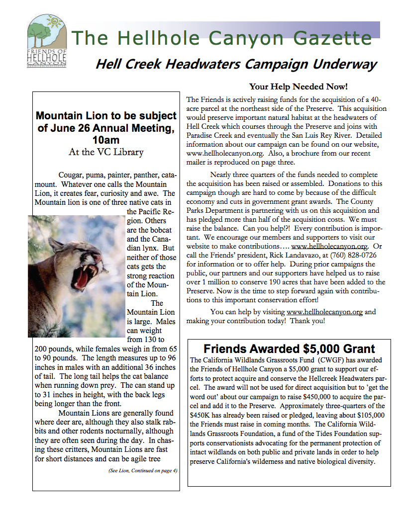 June 2010 Newsletter: Mountain Lions, Hellcreek Campaign