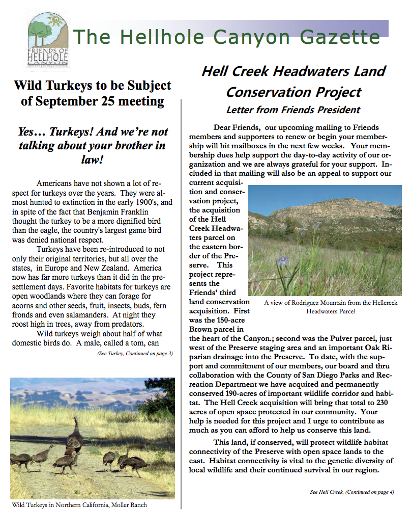 September 2010 Newsletter: Wild Turkeys, Hellcreek Campaign