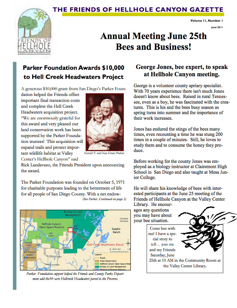 June 2011 Newsletter: Honeybees, Parker Foundation Awards $10,000
