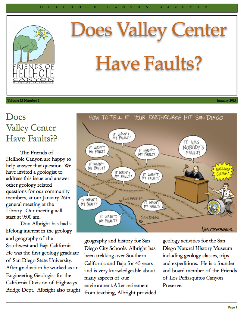 January 2013 Newsletter: Does Valley Center Have Faults?