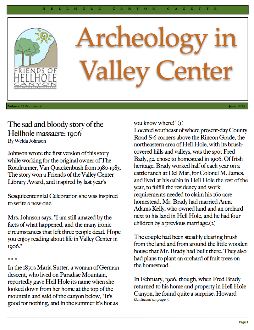June 2013 Newsletter: Archeology in Valley Center