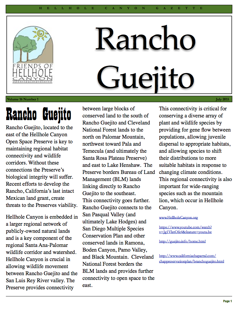 July 2015 Newsletter: Rancho Guejito