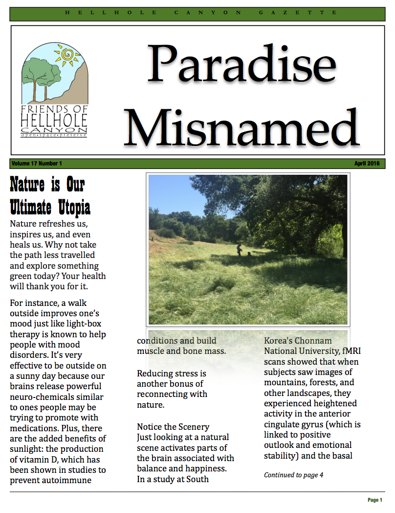 April 2016 Newsletter: Paradise Misnamed