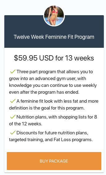 includes a nutrition plan & SAVE $20 when purchasing FULL 12 WEEK PACKAGE. ADD ON PREMIUM SERVICES ALSO aVAILABLE ONCE YOU BEGIN PLUS IN PERSON TRAINING OPTIONS.