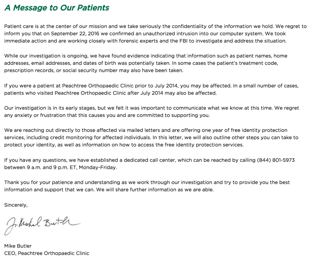 The CEO of Peachtree Orthopaedic Clinic updates patients on the attack via a letter on the group's website.