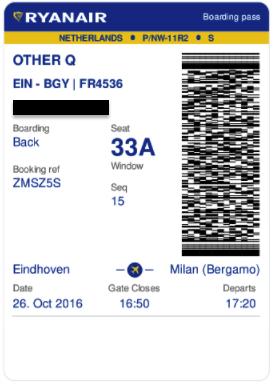 RYANAIR boarding pass