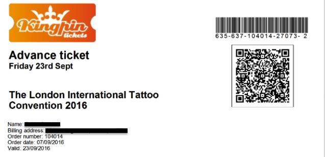 Ticket to the London International Tattoo Convention