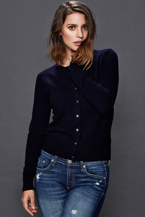 Abbey Cashmere Cardigan - Navy — Scout Cashmere