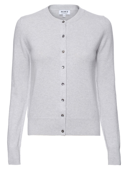 Abbey Cashmere Cardigan - Light Gray — Scout Cashmere