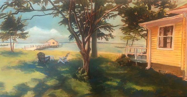 """""""River House"""". Acrylic. 24""""x12"""" #northcarolina #landscape #painting #acrylic"""