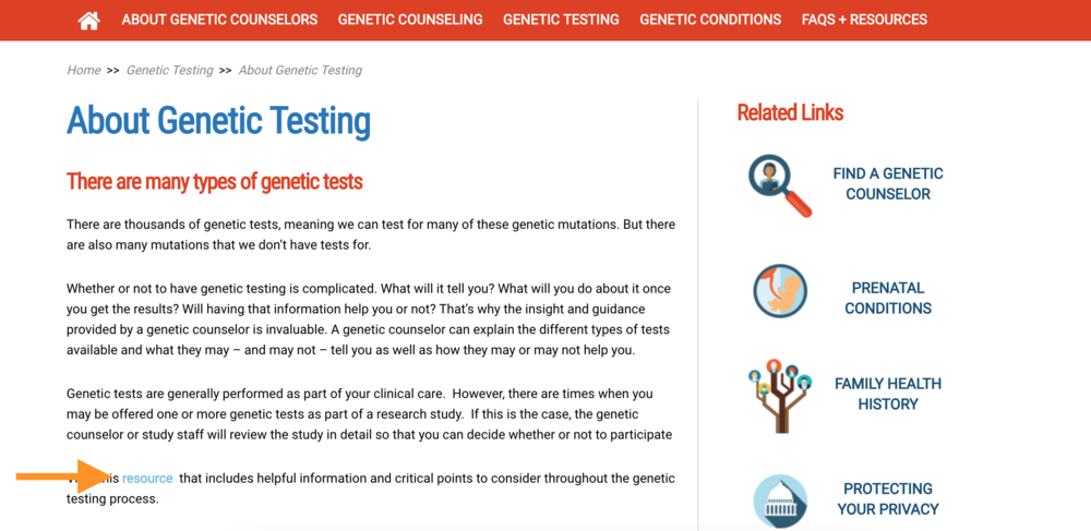 Find the document at http://aboutgeneticcounselors.com/Genetic-Testing, where the orange arrow points.