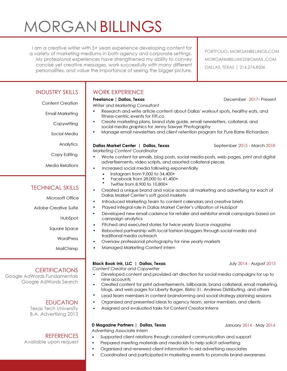 Resume — morgan billings