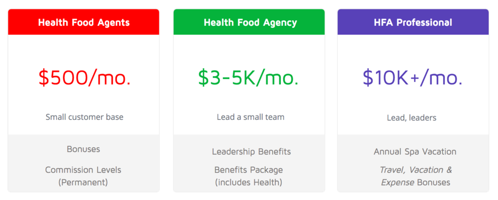 Health food agent income