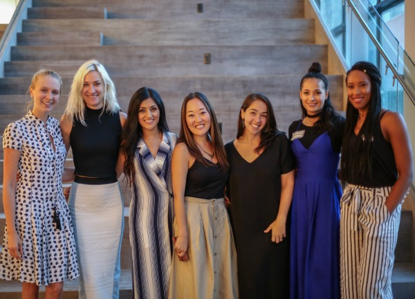 At our Fashion Founders event featuring fashion founders ranging from design to tech. From left to right: Julia Macalister from Preeline, Maia Wojcik from Fashion Tech Forum, Jia Wertz from Studio 15, Lauren Tanaka, Nicole Giordano from Startup Fashion, Layana Aguilar of Project Runway and Layana Aguilar, and Traceena Peterson