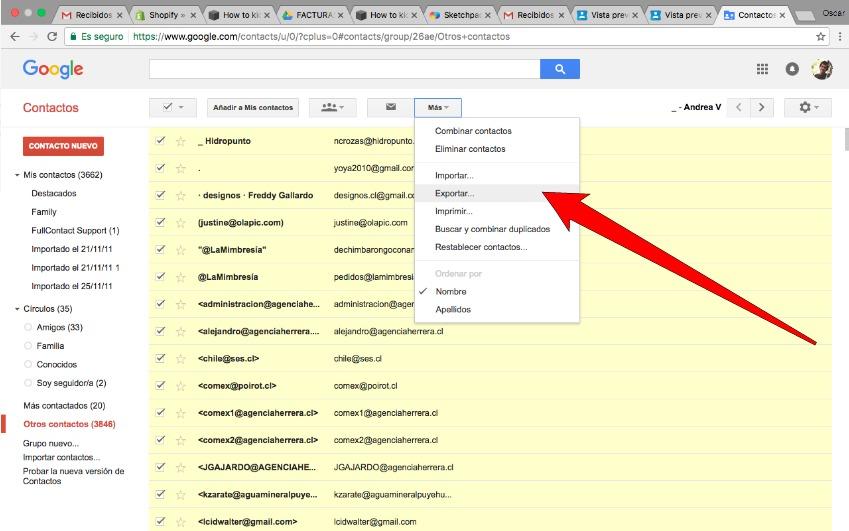 """Click en """"Más"""" y dale exportar, Google te dará un Archivo CSV (Comma Separated Values) que puedes cargar en Mailchimp o abrir en Excel."""