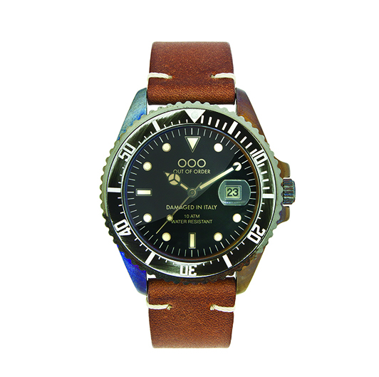 Out Of Order 40mm Quartz - Dark Brown (Leather Band)