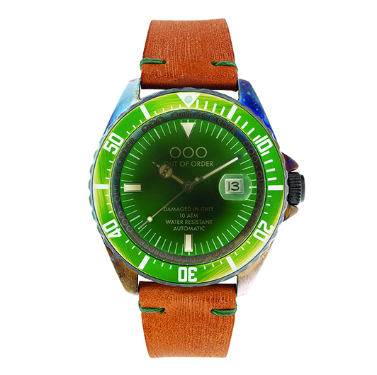 Out Of Order 44mm - Automatic Movement - Green (Leather Band)