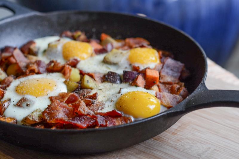 Sweet Potato, Bacon, Egg Breakfast Skillet