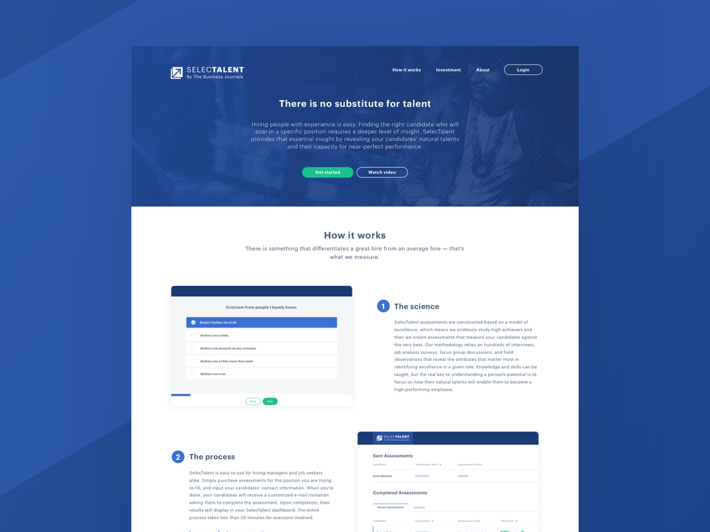 SelecTalent Marketing Page Mockup