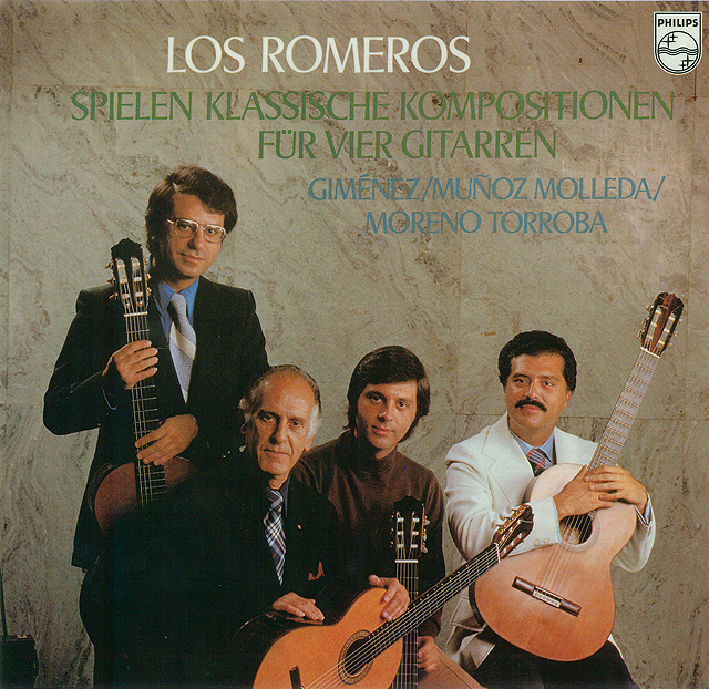 The Romeros Play Classical Music for Four Guitars Recorded 1976: Philips LP • Catalog no. 9500 296
